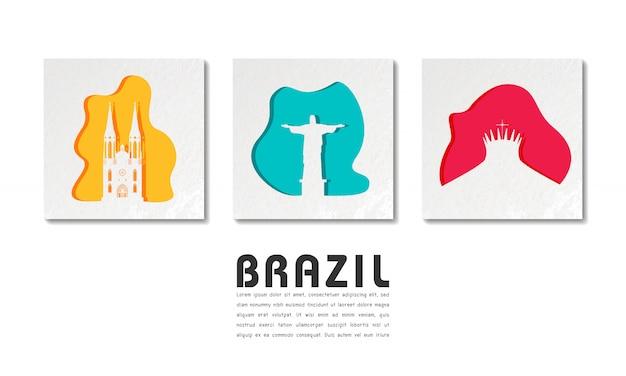 Brasil landmark global travel and journey em corte de papel Vetor Premium