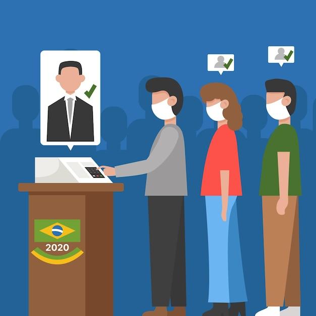 Brasil na fila de votação com máscara facial Vetor Premium