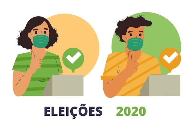 Brasil na fila de votação com máscara facial Vetor grátis