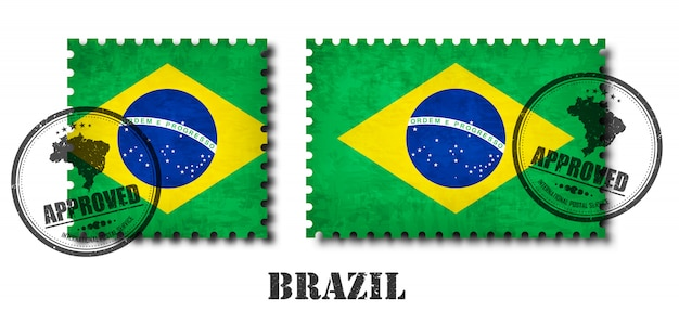 Brasil ou selo de padrão de bandeira brasileira Vetor Premium