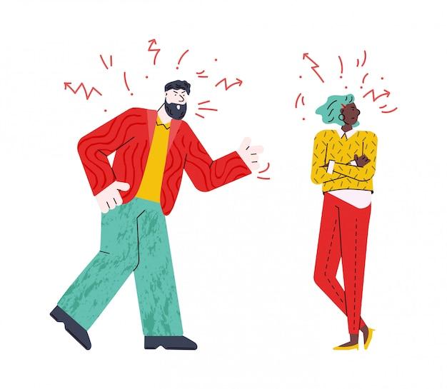 Bravo casal brigando - jovem cartoon homem e mulher com rostos loucos Vetor Premium