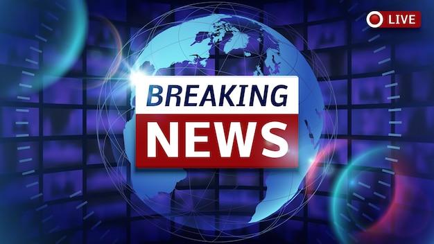 Breaking news transmissão vector fundo futurista com o mapa do mundo Vetor Premium