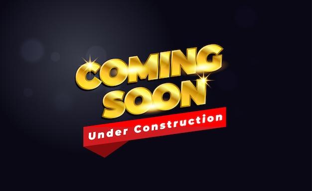 Brevemente em construção com cor dourada e escura Vetor Premium