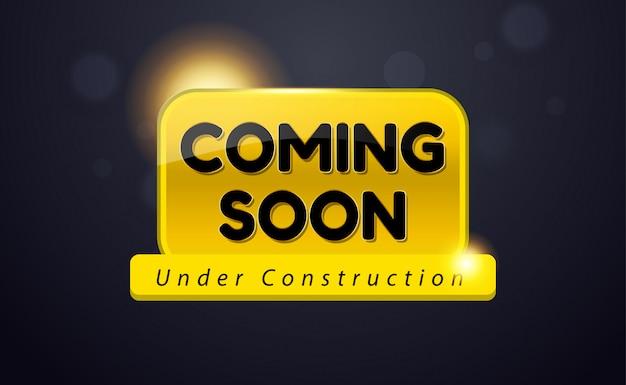 Brevemente em construção promoção design Vetor Premium