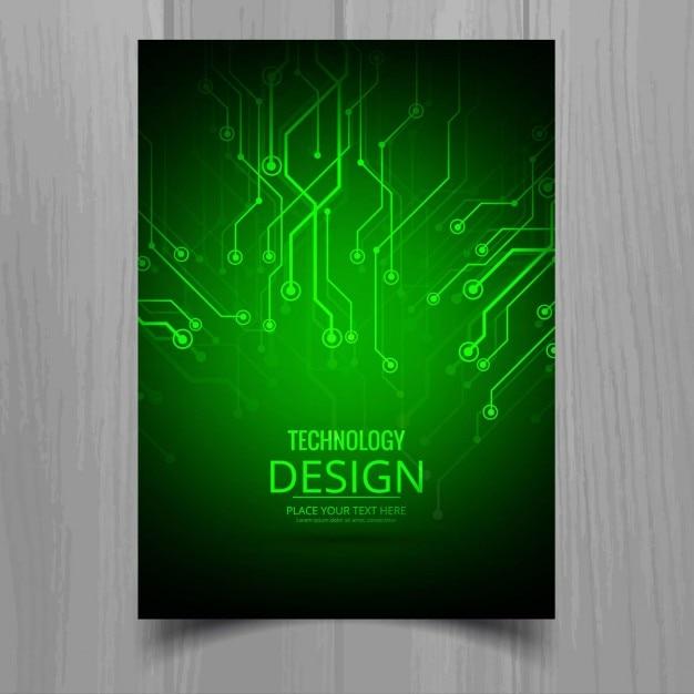 Brilhante brochura tecnologia verde Vetor grátis