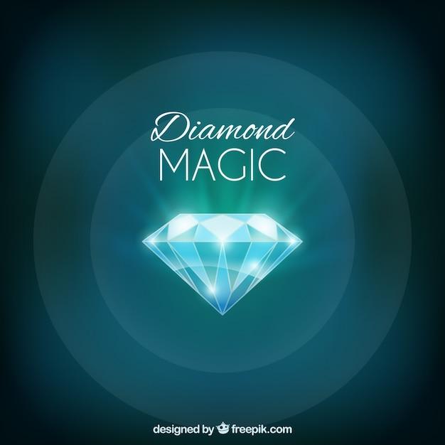 Brilhante diamante fundo verde Vetor grátis