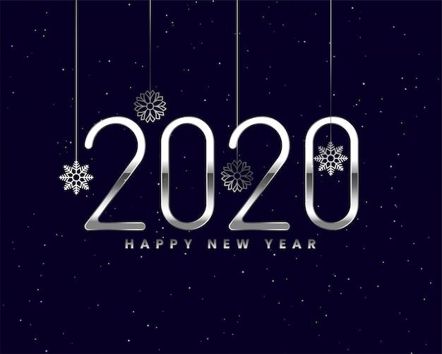 Brilhante prata 2020 ano novo cartão com flocos de neve Vetor grátis