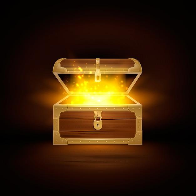 Brilhar na composição realista de baú de madeira velha do cofre do tesouro com tampa aberta e partículas douradas Vetor grátis
