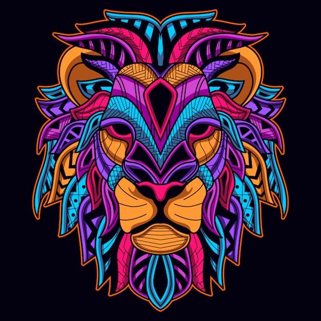 Brilhar na cor neon escuro da cabeça de leão Vetor Premium