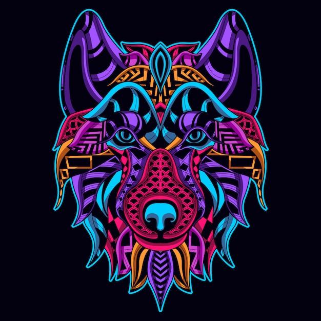 Brilhar no estilo escuro da cabeça de lobo Vetor Premium
