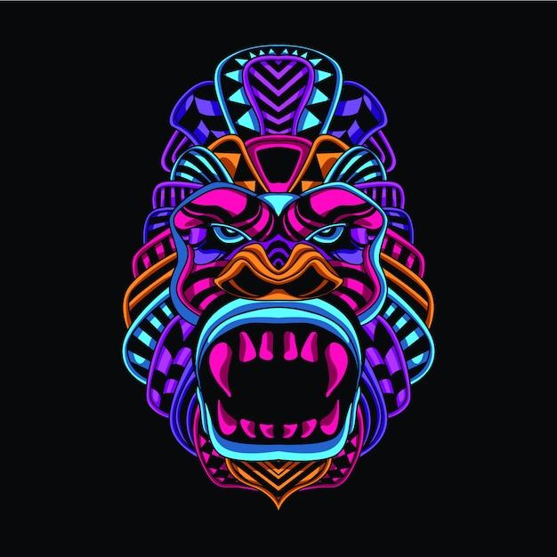 Brilhar no macaco decorativo escuro de cor neon Vetor Premium