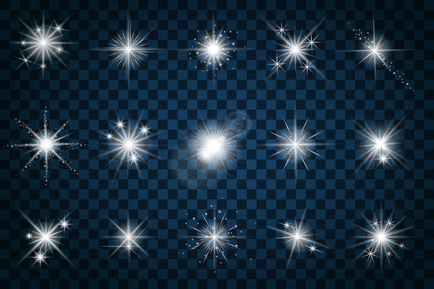 Brilhe estrelas com brilhos e brilhos. efeito de brilho, brilho de design, sinal de elemento de cintilação, luz, Vetor grátis