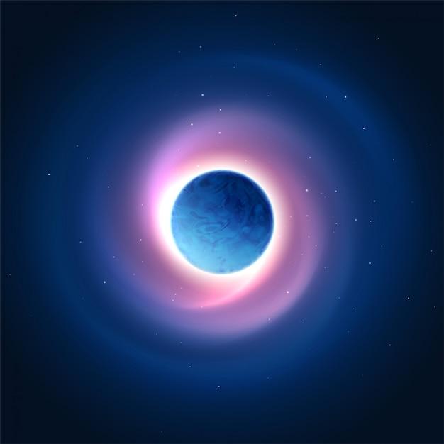 Brilho cósmico do fundo do planeta. ilustração vetorial Vetor Premium