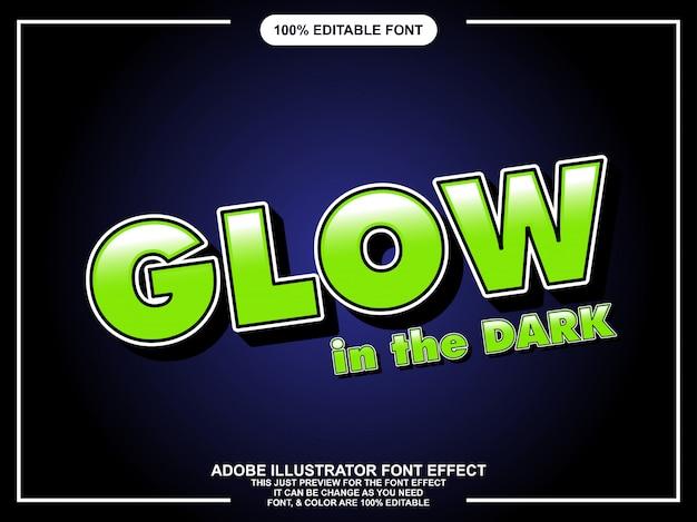 Brilho de negrito estilo gráfico editável no efeito de fonte escura Vetor Premium