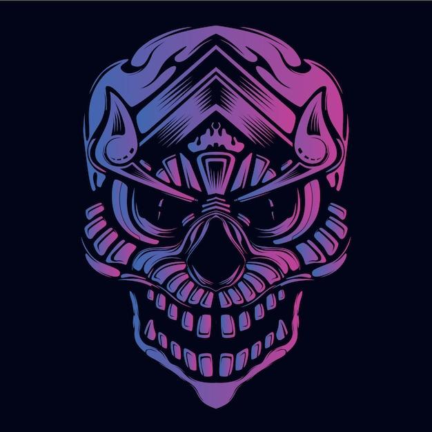 Brilho do crânio no rosto decorativo escuro Vetor Premium