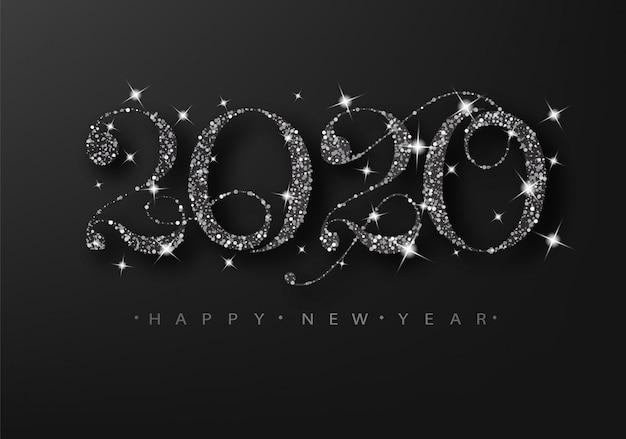 Brilho preto 2020 em um fundo preto. feliz ano novo cartão de grade. Vetor Premium
