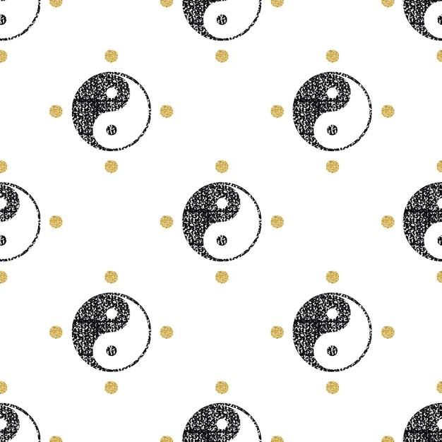 Brilho preto sem costura yin yang com fundo de padrão de ouro glitter Vetor Premium