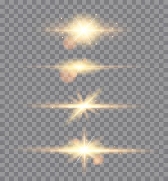 Brilhos de luzes douradas isolados. conjunto de estrelas brilhantes Vetor Premium