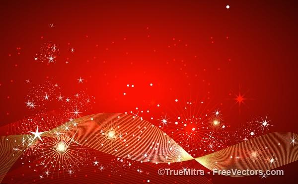 Brilhos de ouro e estrelas sobre fundo vermelho Vetor grátis