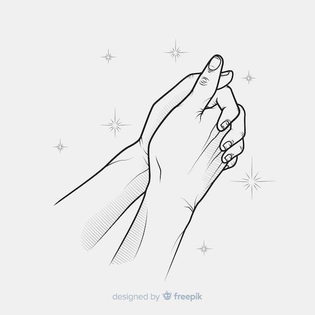 Brilhos rezando fundo de mãos Vetor grátis