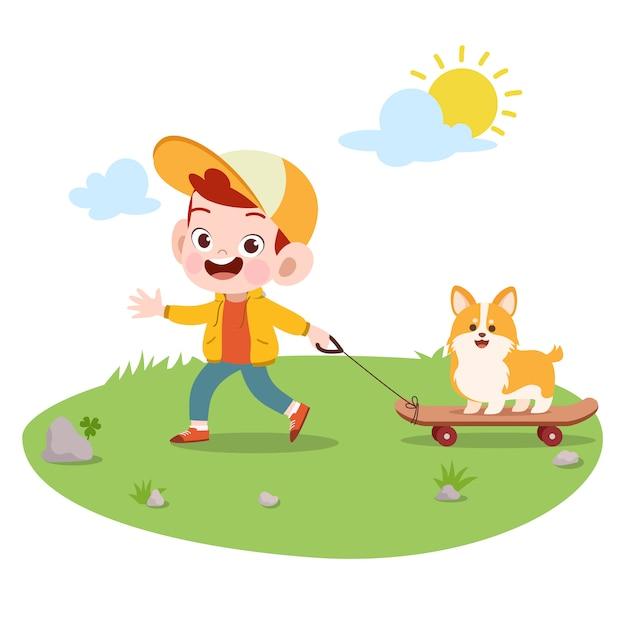 Brincadeira de criança com ilustração vetorial de cão Vetor Premium