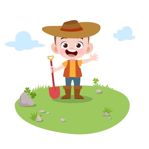 Brincar de jardinagem criança na ilustração vetorial jardim Vetor Premium