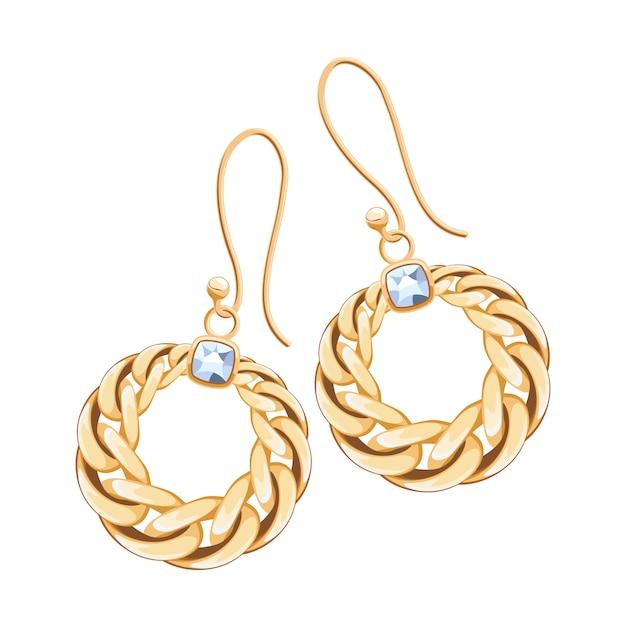 Brincos com corrente dourada e cravejados de diamantes. ilustração de joias. Vetor Premium