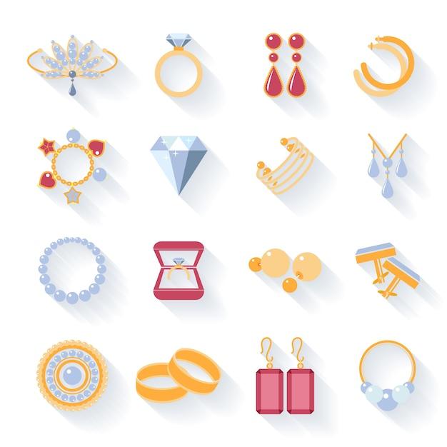 Brincos e anéis, botões de punho e colares, pingentes e ícones planos. ilustração vetorial Vetor grátis