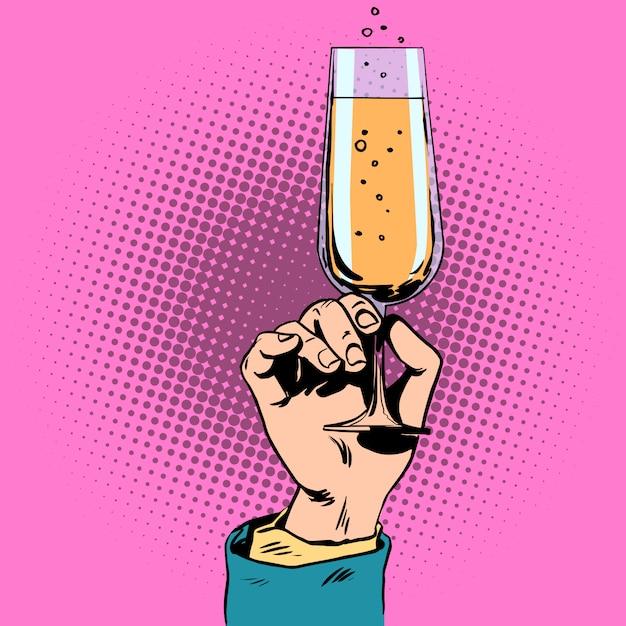 Brinde uma taça de champanhe vinho na mão Vetor Premium