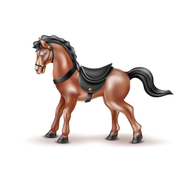 Brinquedo de cavalo realista de vetor, boneca com sela preta Vetor Premium