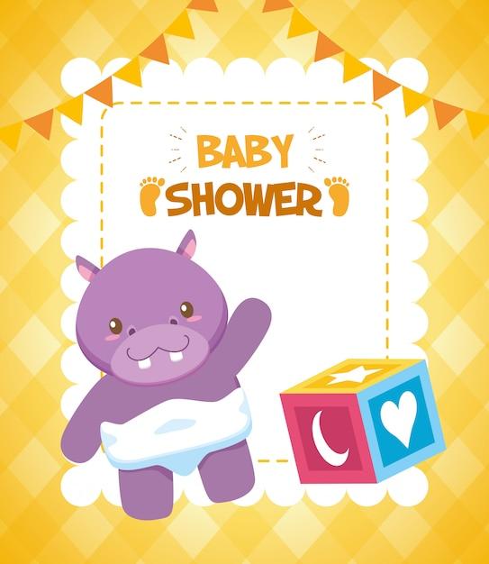 Brinquedo hipopótamo e cubo para cartão de chuveiro de bebê Vetor grátis