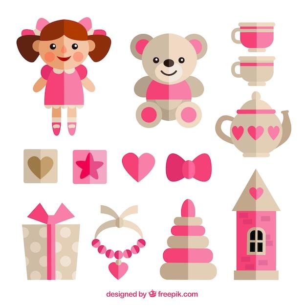 Brinquedos de menina em design plano Vetor grátis