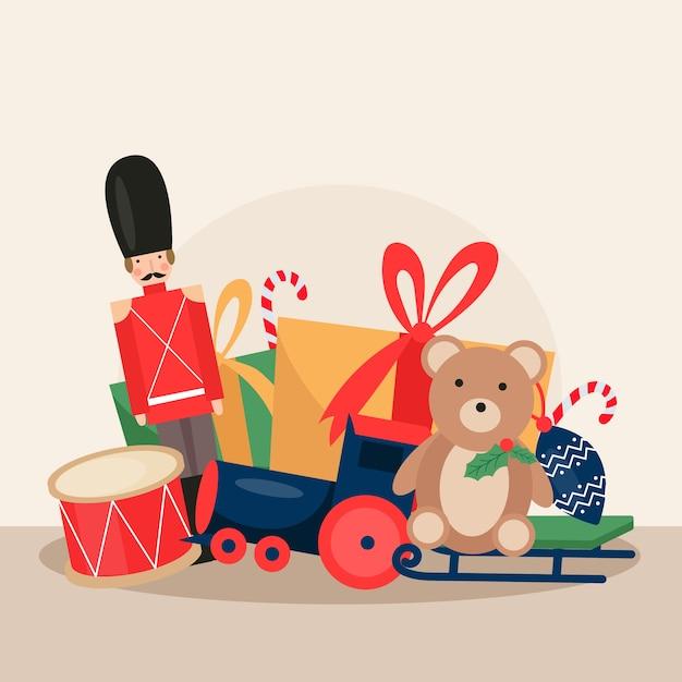 Brinquedos de natal de ilustração design plano Vetor grátis