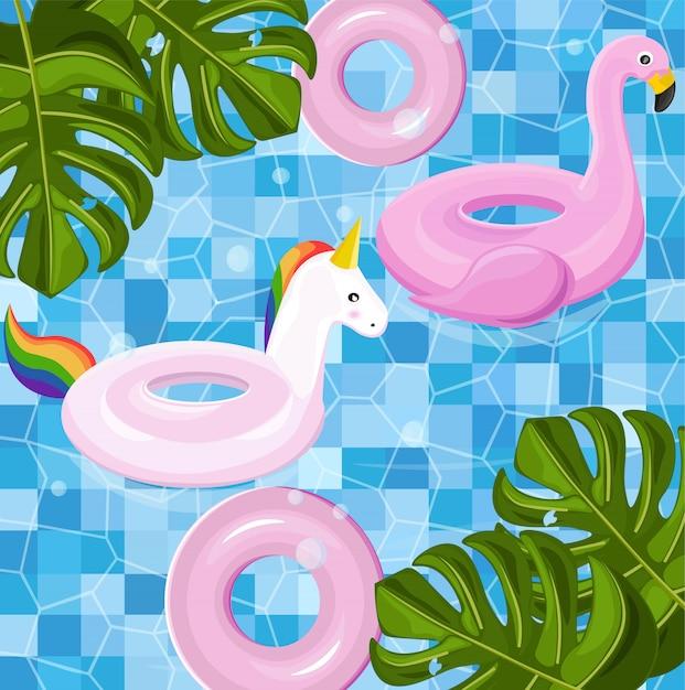 Brinquedos flutuantes piscina Vetor Premium