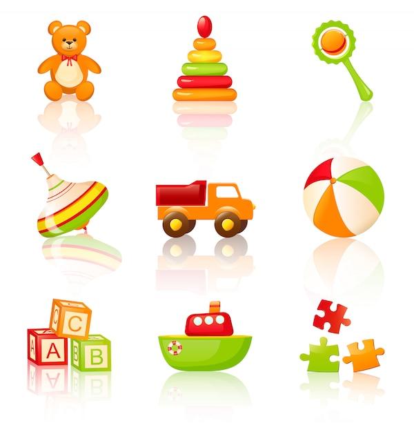 Brinquedos infantis coloridos. Vetor Premium