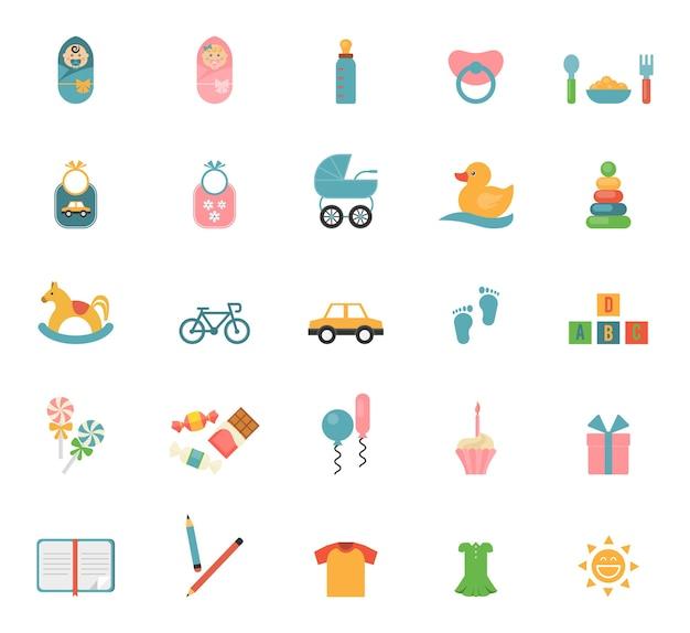 Brinquedos infantis em estilo simples. conjunto de ícones sobre o tema de bebês e seus acessórios. Vetor grátis