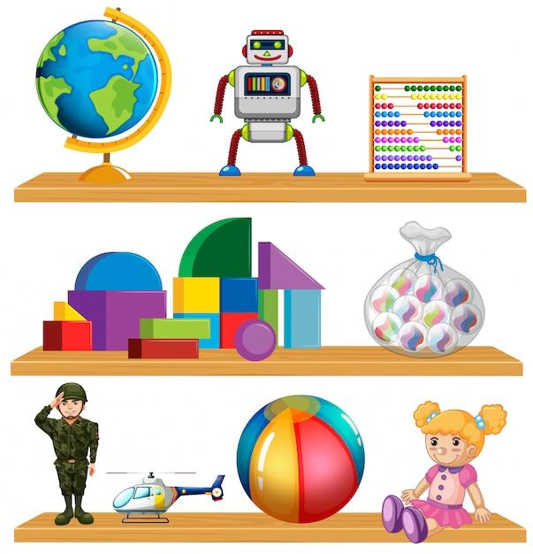 Brinquedos para crianças na prateleira Vetor grátis
