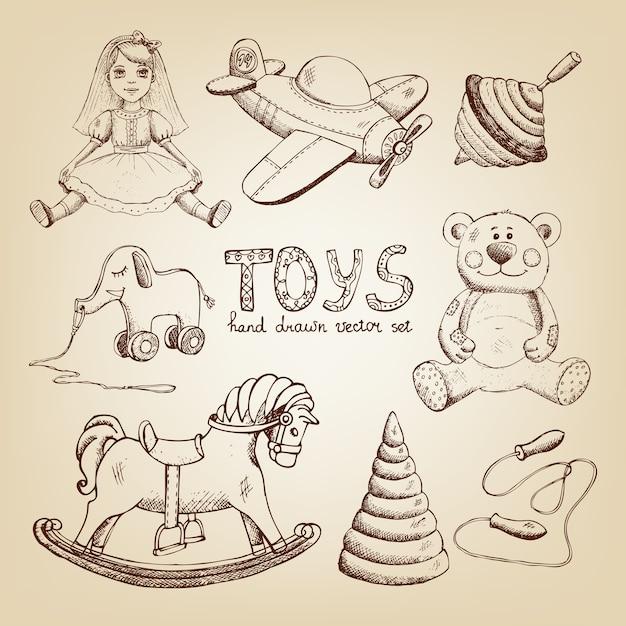 Brinquedos retro desenhados à mão: boneca avião whirligig ursinho de pelúcia Vetor grátis