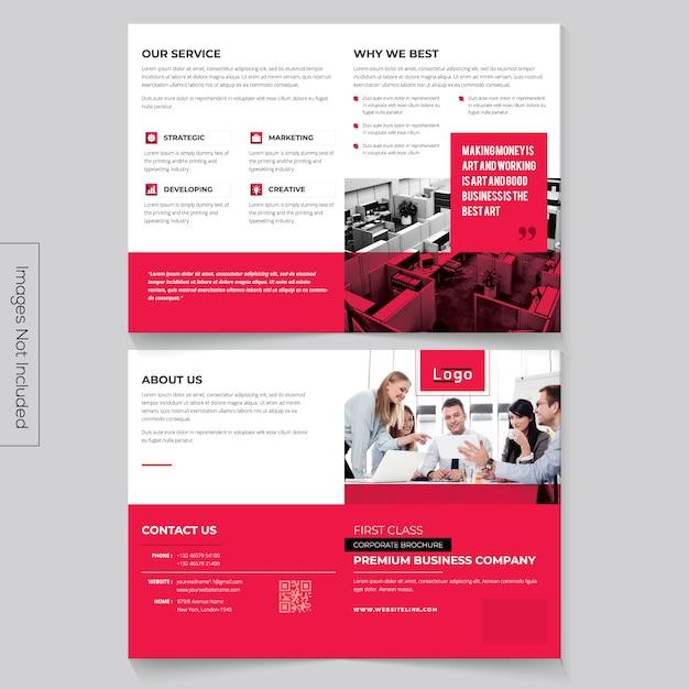 Brochura bi-dobrada minimalista Vetor Premium