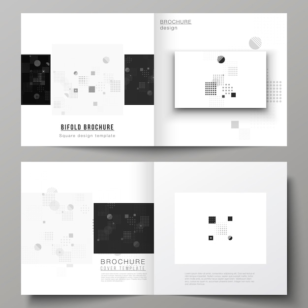 Brochura bifold com design minimalista abstrato em preto e branco Vetor Premium