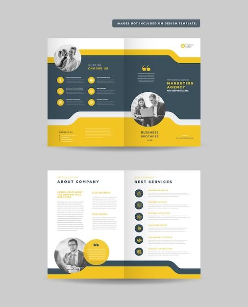 Brochura bifold de negócios corporativos ou perfil da empresa Vetor Premium