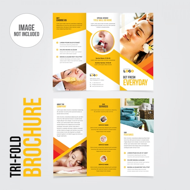 Brochura brochura tri-fold Vetor Premium