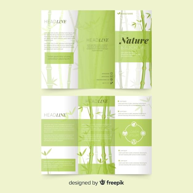 Brochura com três dobras da natureza Vetor grátis
