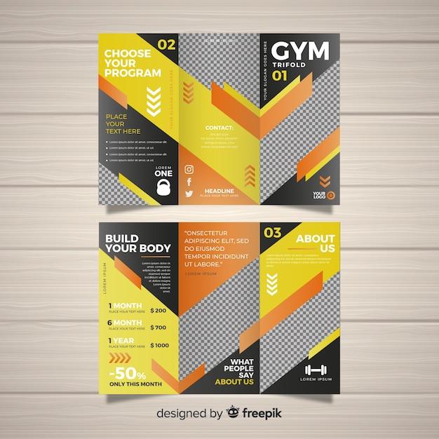 Brochura com três dobras de ginástica Vetor grátis