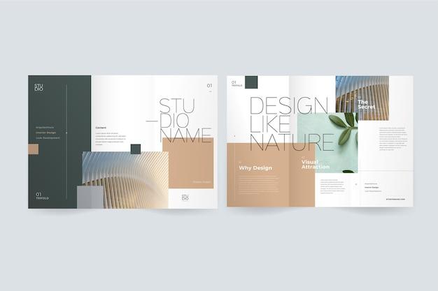 Brochura com três dobras mínima com imagem Vetor grátis