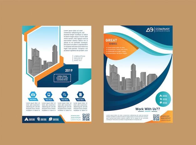 Brochura de cartaz de layout de panfleto livreto de livro de relatório anual Vetor Premium