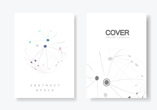 Brochura de design de capa com linha conectada e pontos Vetor Premium