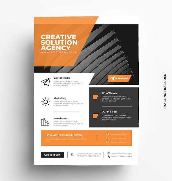 Brochura de modelo de folheto de negócios corporativos com foto Vetor Premium
