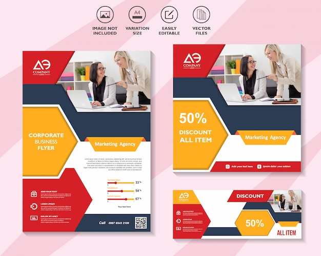 Brochura de modelo de marketing de mídia social panfleto comercial Vetor Premium
