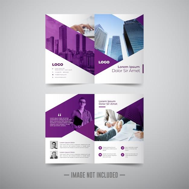 Brochura de negócios de duas dobras Vetor Premium